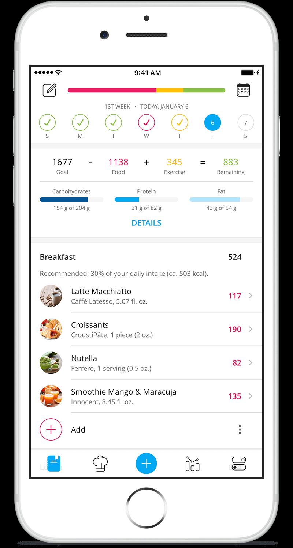 YAZIO Food Diary App Compteur de calories, Application
