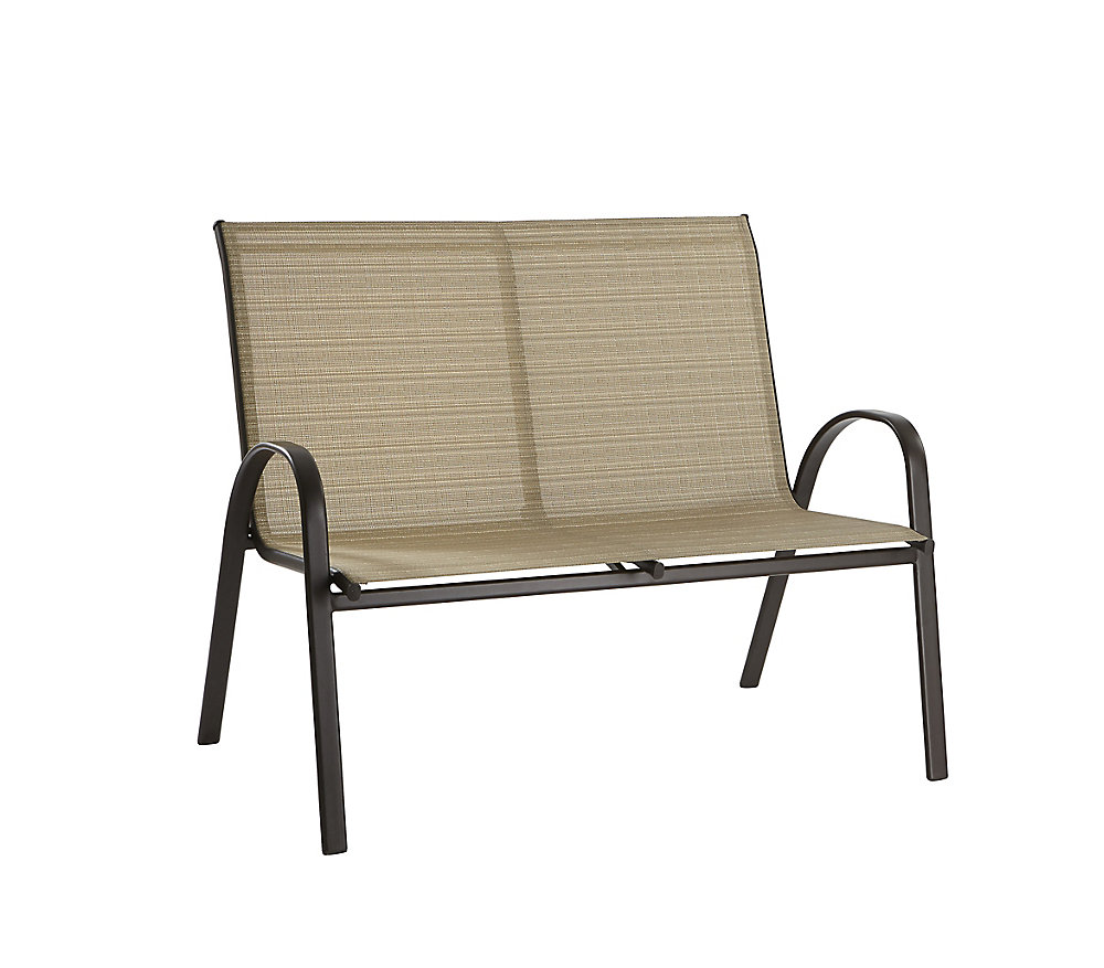Hampton Bay Steel Stacking Loveseat Café Tan The Home