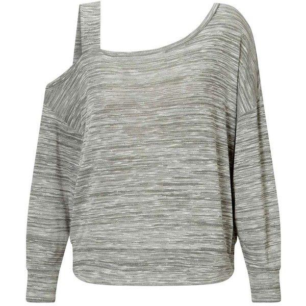 f931a9f2f39 Miss Selfridge Khaki Asymmetric Sweatshirt (117195 PYG) ❤ liked on Polyvore  featuring tops,