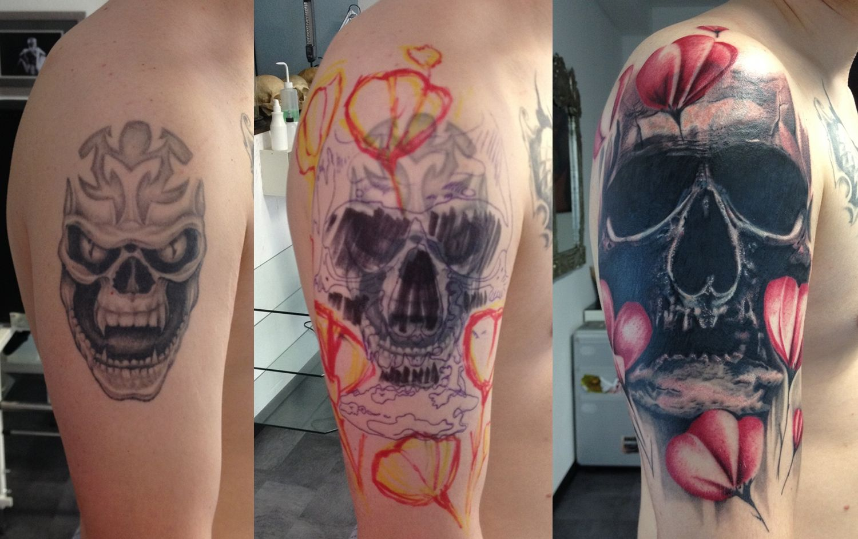 cover up skull by robert franke traditional art body art body ...