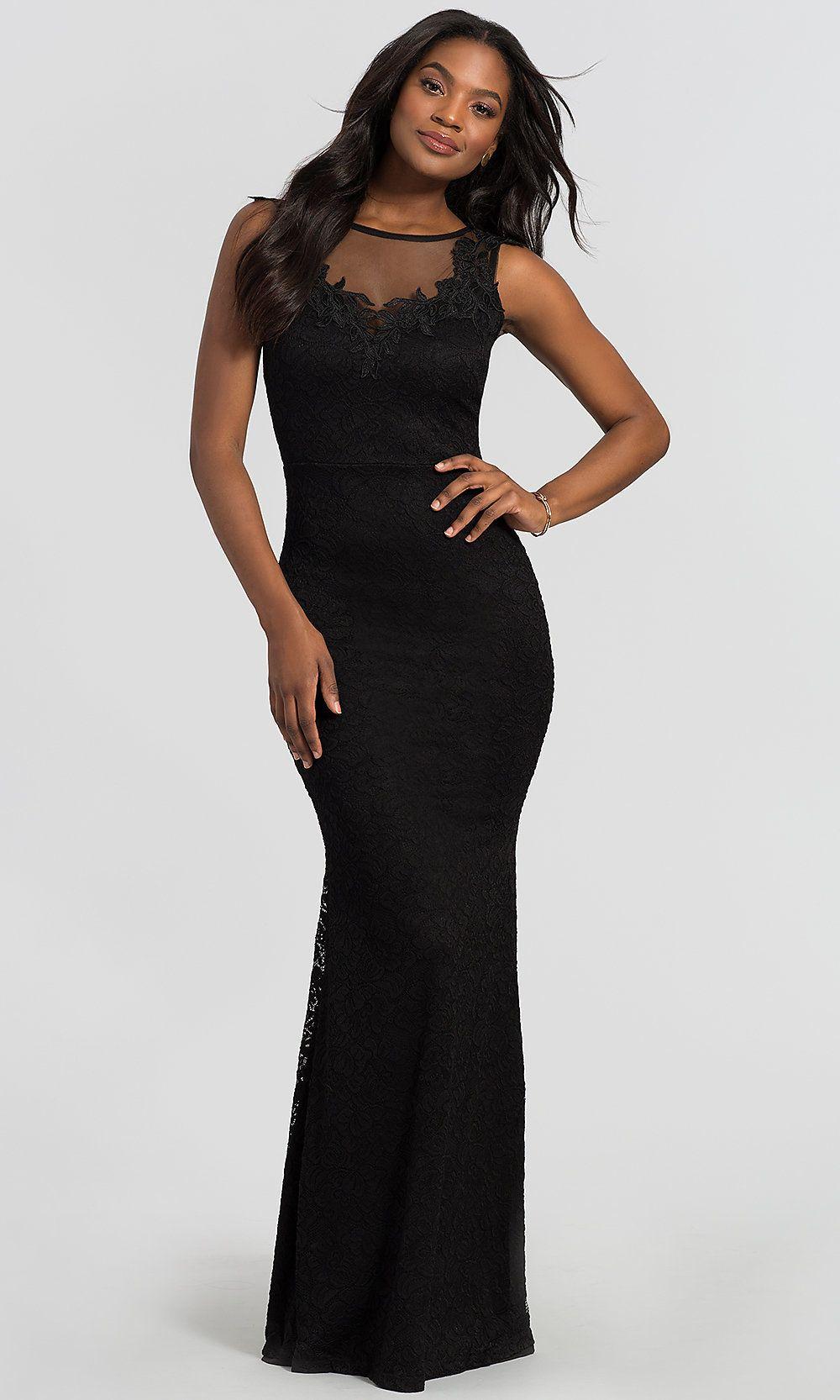 5e5f1f2eda7e1 ILLUSION-NECK LONG BLACK LACE WEDDING GUEST DRESS   Best Dressed ...
