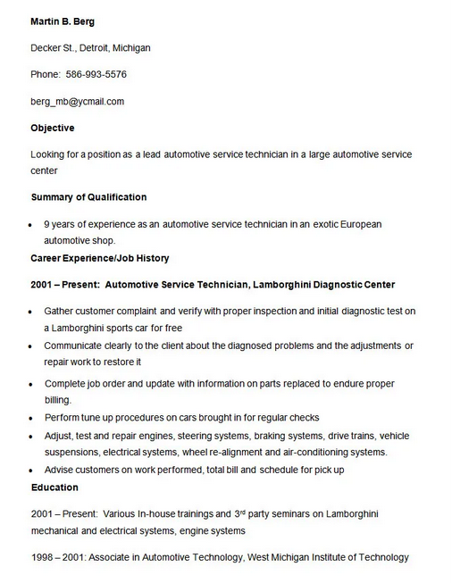 10 Automobile Fresher Resume Format In 2020 Resume Automobile Engineering Resume Format