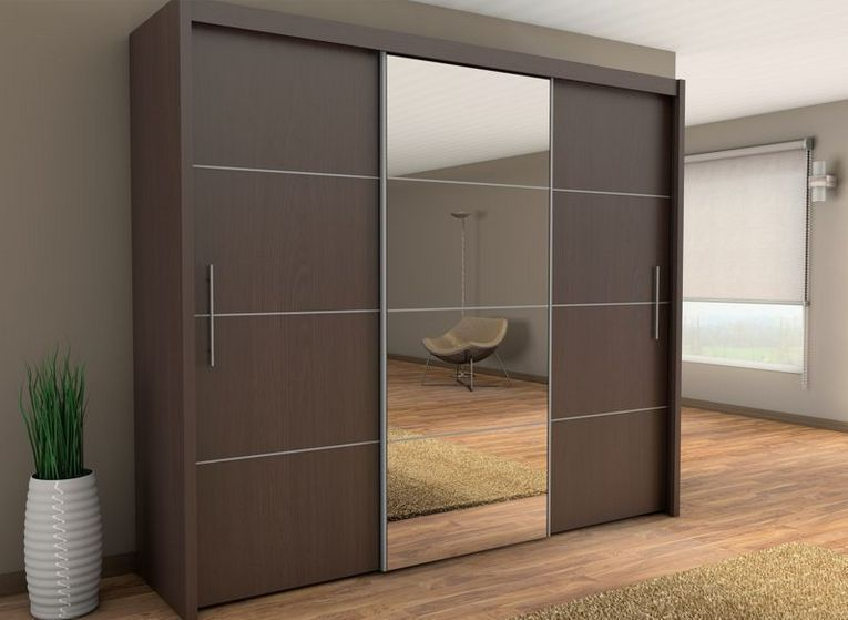 Sliding Three Door Wardrobe With Center Glass Id565