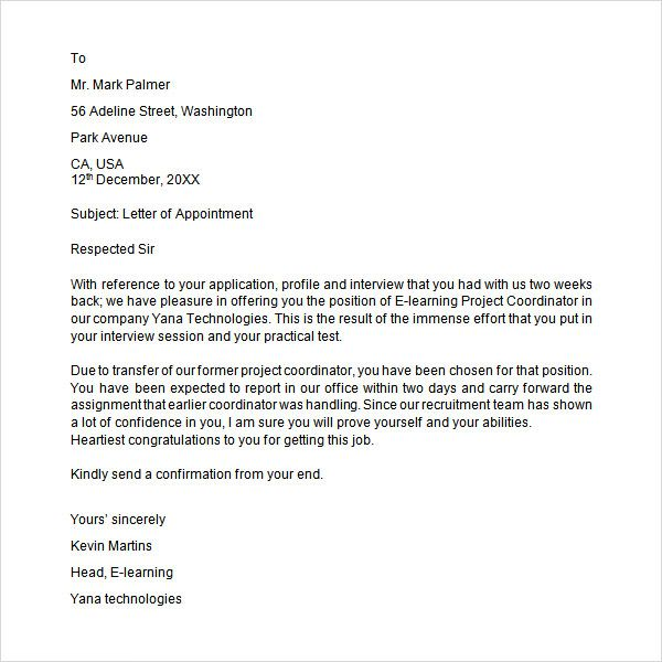 Sample Appointment Letter Download Free Documents Pdf Word Format