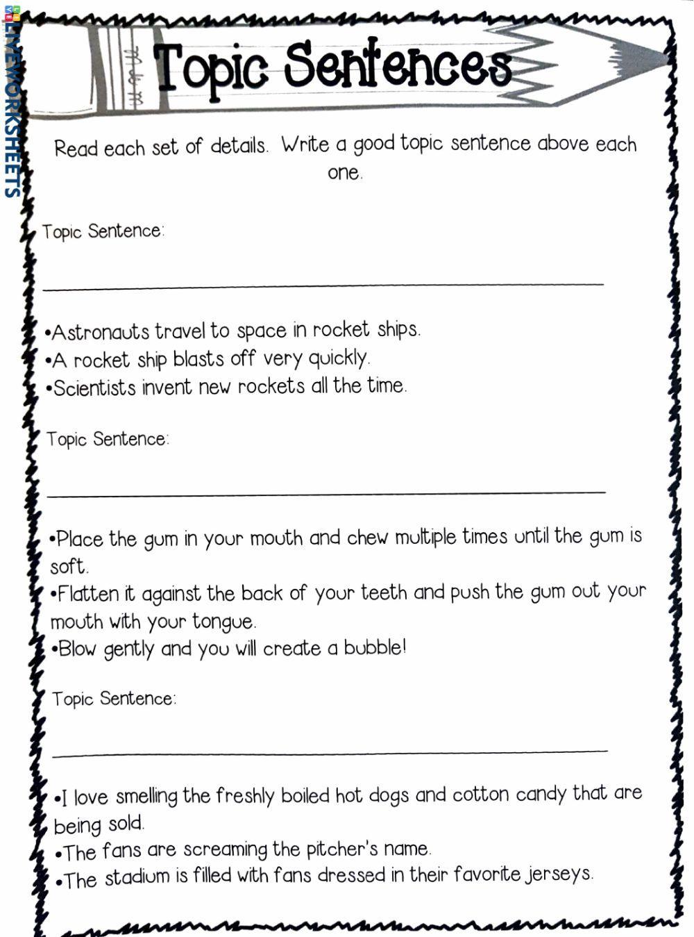 Topic Sentences Activity In 2020 Topic Sentences Activities Sentence Activities Topic Sentences