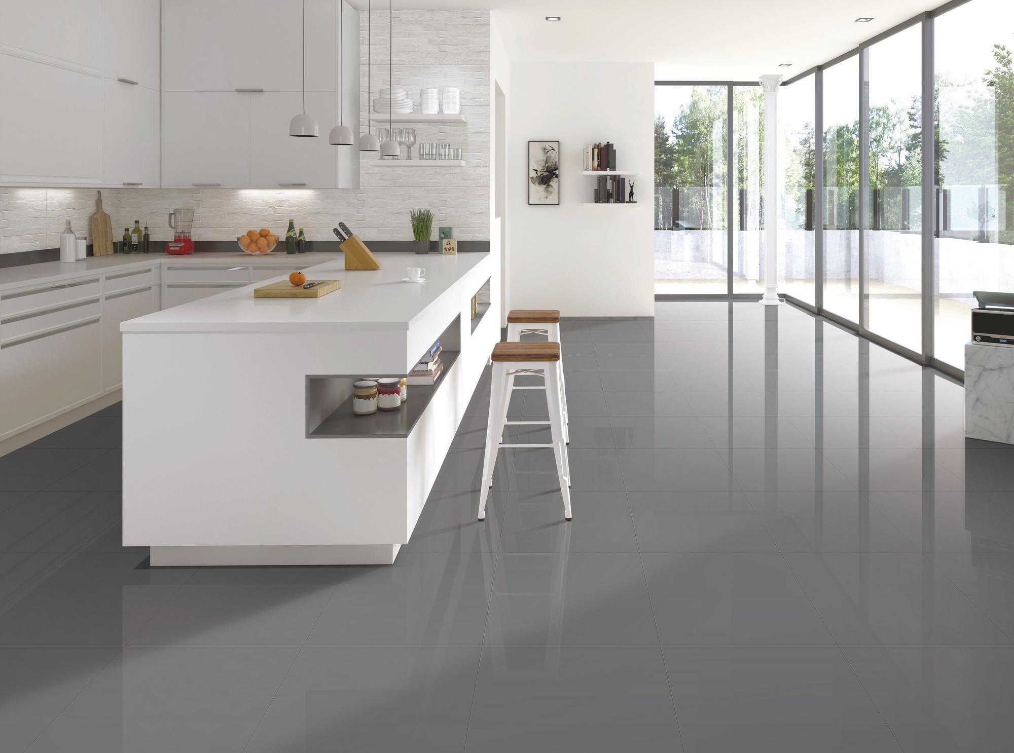 Classic Gray Polished Porcelain Tile Grey Polished Porcelain Tiles Polished Porcelain Tiles Grey Kitchen Floor