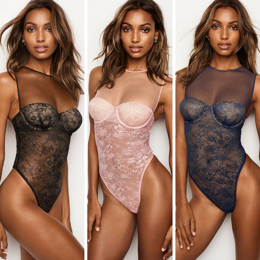 f60613f420f Stunning Jasmine Tookes in Victoria S Secret Floral Lace   Mesh Bodysuit in  Black