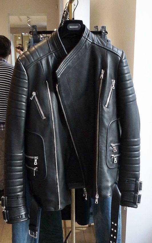 Balmain Leather Jacket Men Balmain Biker Jacket Black Leather