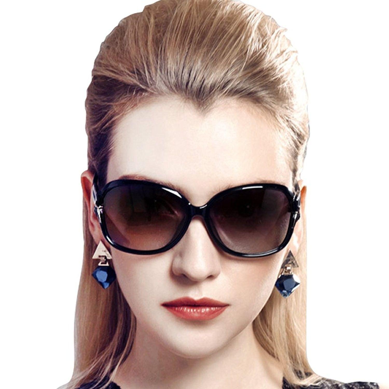 64cb12a445 Women s Stylish Polarized Sunglasses Star Glasses 100% UV Protection 2229 -  Black - CG124HC2IQ7 - Women s Sunglasses
