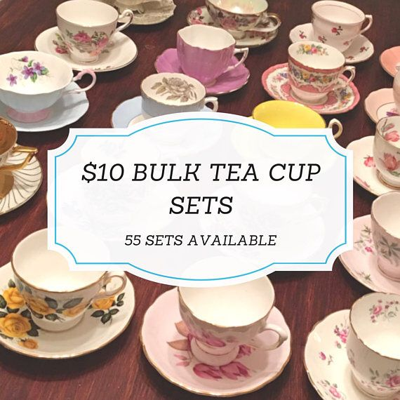 Complete Tea Party Set Mix and Match Vintage Tea Cups Mismatched
