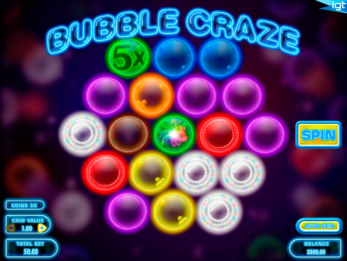 Get 5 free spins award by popping colourful bubbles at