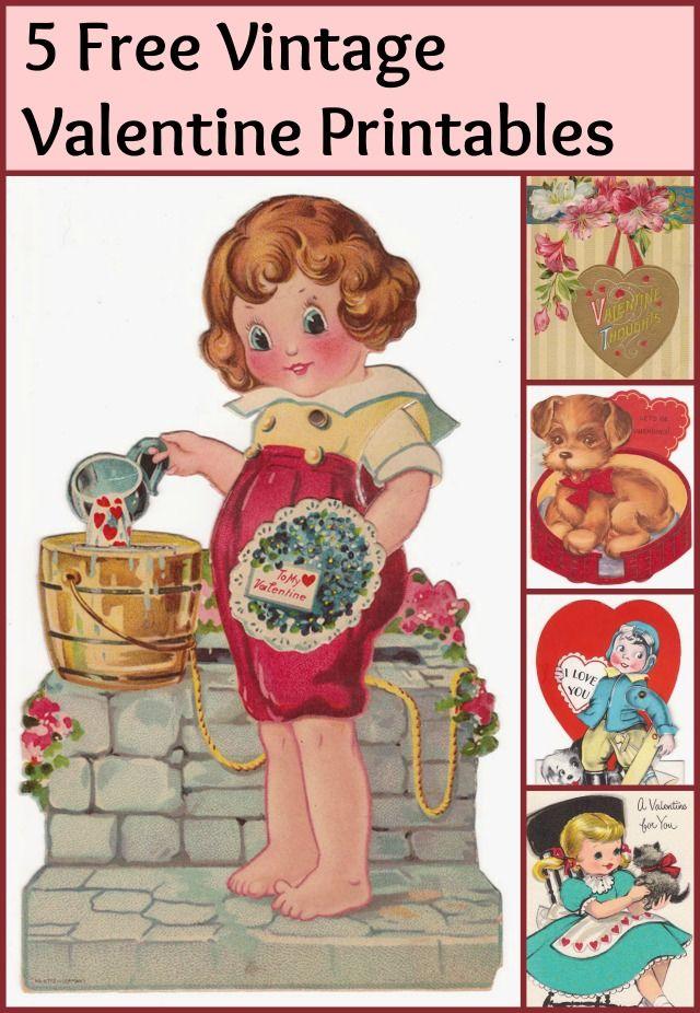 Vintage Valentines Printables 4 U – Vintage Valentine Cards to Print