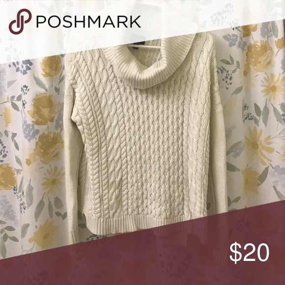 Cream colored cowl neck sweater from AE | Cowl neck, Cable ...
