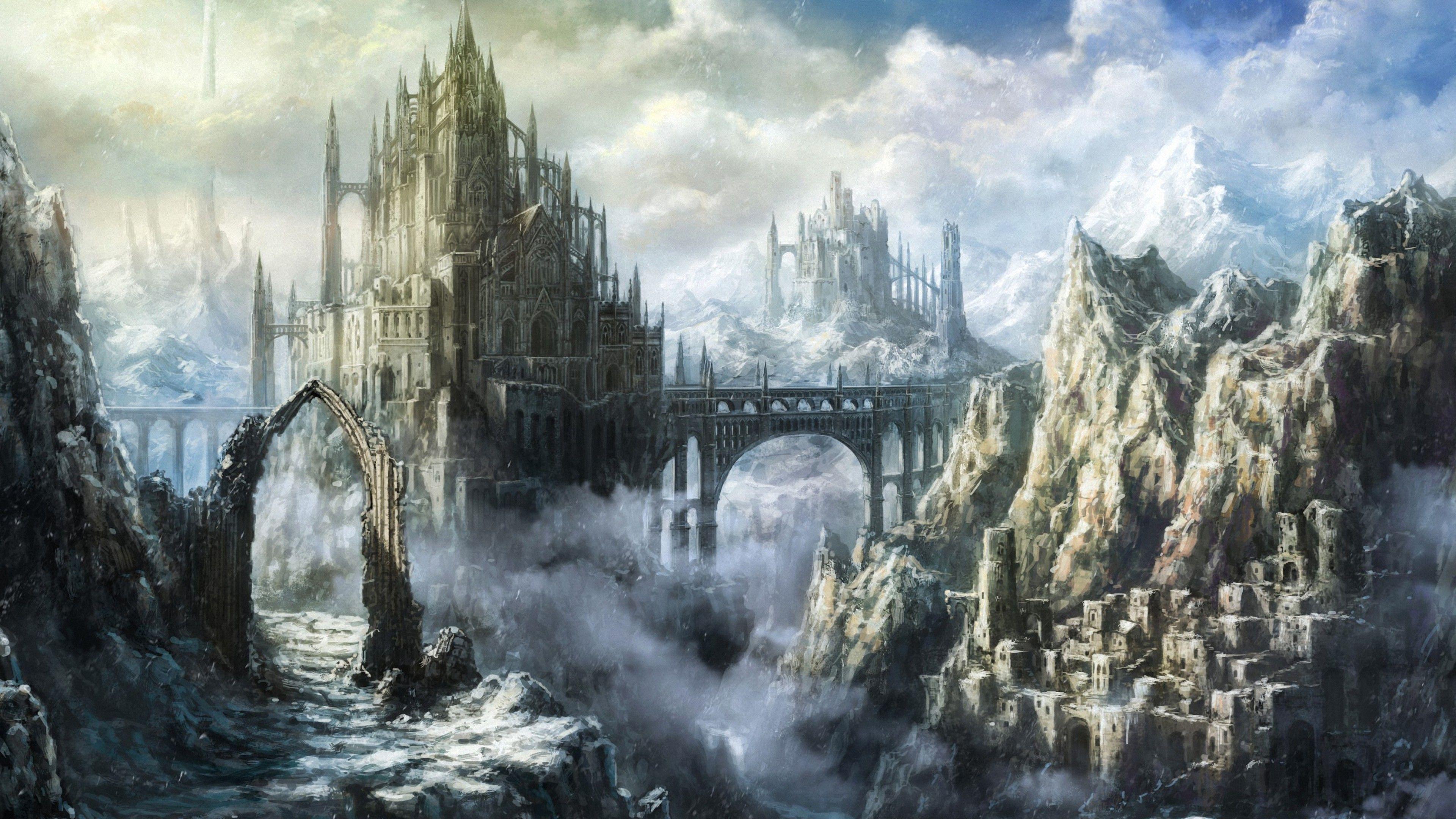 3840x2160 Fantasy Castle Fortress 4k Ultra Hd Wallpapers Fantasy Landscape Fantasy Art Landscapes Fantasy Castle