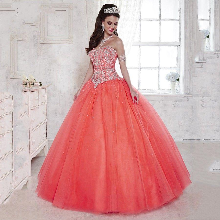 Formal Party Dress Coral Quinceanera Dresses 2016 Plus Size ...