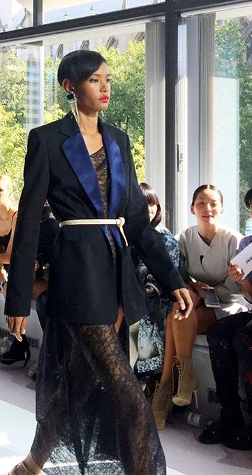 Obsessed with this Topshop Unique look from London Fashion Week. Pairing a bold blazer with soft and elegant lace to create a sleek yet feminine style.