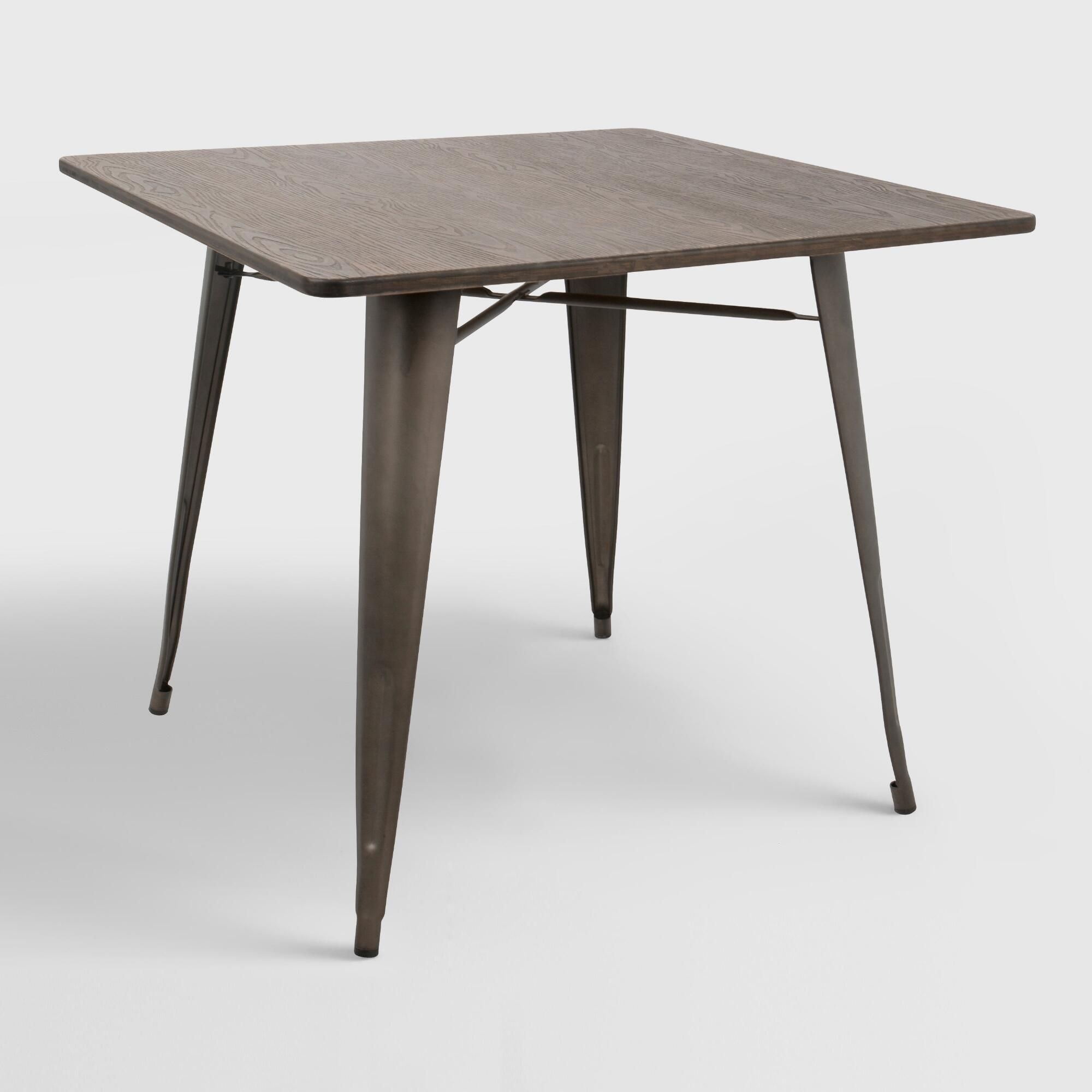 Square Espresso Metal And Wood Arwen Dining Table With Images