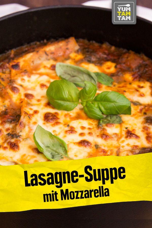 Lasagne-Suppe mit Mozzarella