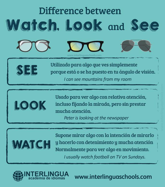 Sabrias Diferenciar Entre See Look Y Watch Verbos Comunes En Ingles Vocabulario En Ingles Palabras Basicas En Ingles