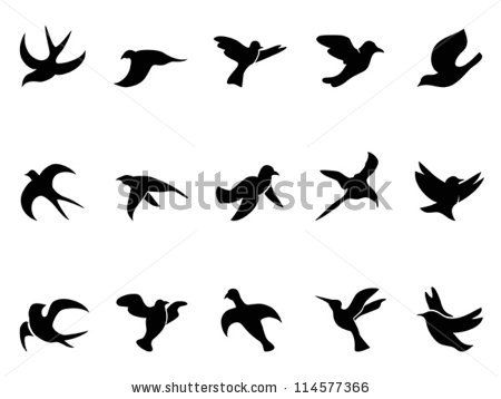 Simple Bird S Flying Silhouettes By Huhu Via Shutterstock Flying Bird Silhouette Bird Silhouette Art Bird Drawings