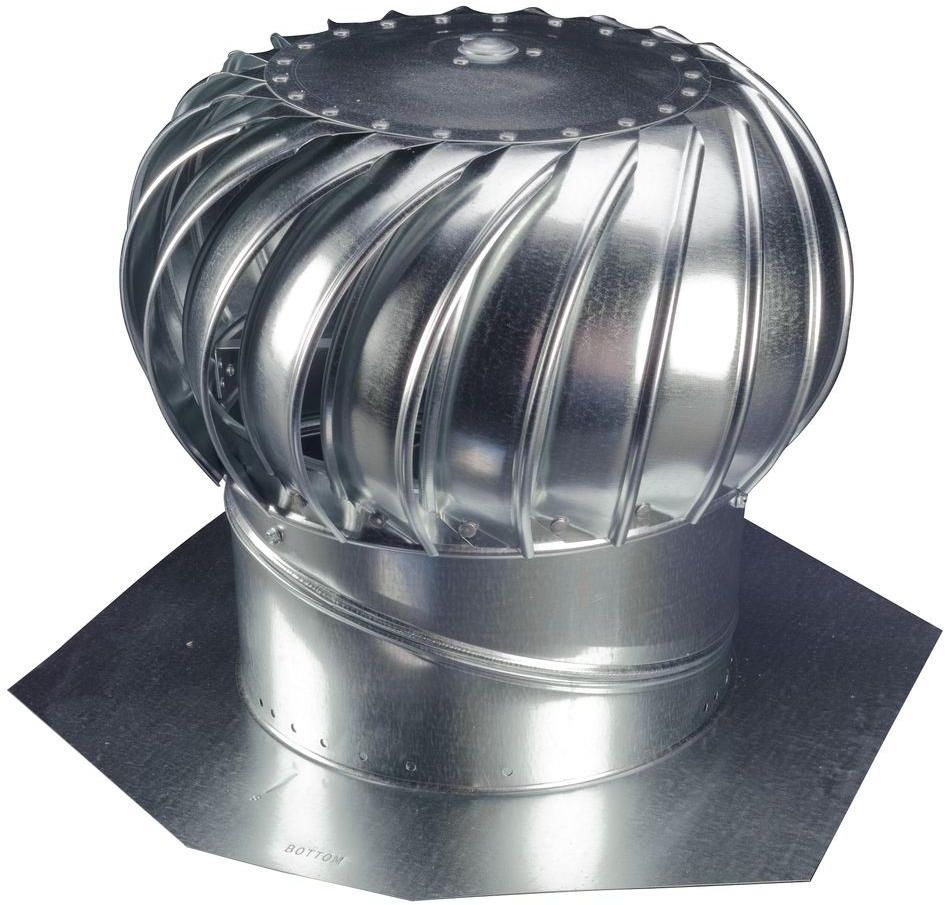 12 In Galvanized Steel Wind Powered Turbine Roof Mount Attic Ventilator Fan Wind Turbine Exhaust Vent Galvanized Steel