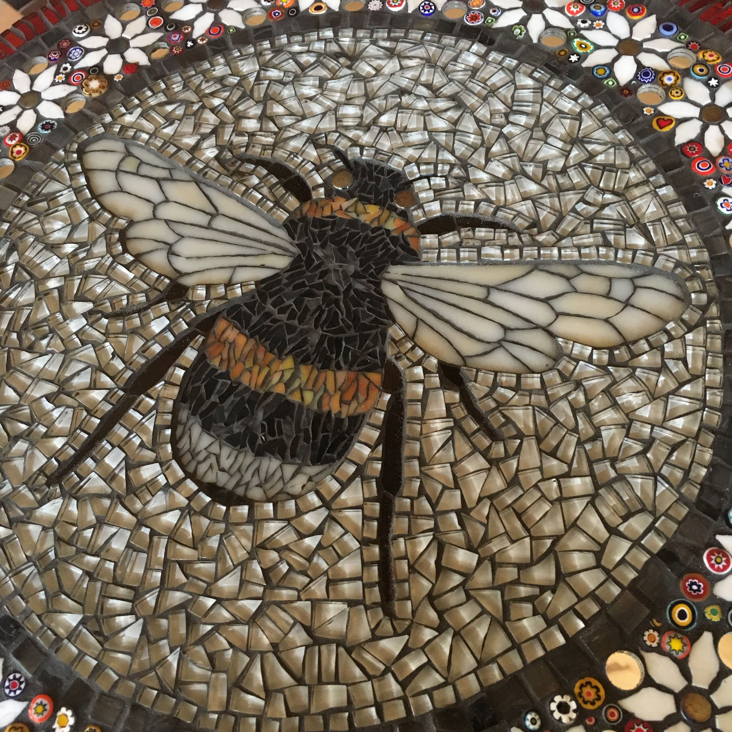 Detail Of Mosaic Bee By Becky Paton Mosaic Garden Art