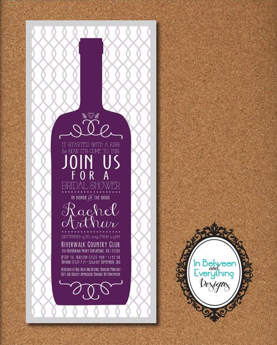 Wine Themed Bridal Shower Winery Cellar Diy Printable Invitations