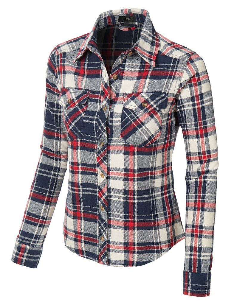 5fa58eb8072 LE3NO Womens Slim Fit Long Sleeve Plaid Flannel Button Down Shirt ...