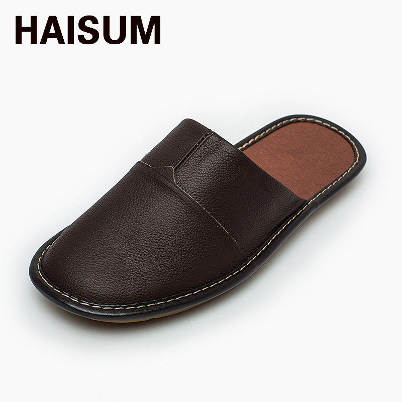 19e953ce33c 2017 Mens Summer Closed Toe Leather Slipper Haisum Indoor Outdoor Luxury  Leather Mule Slip On