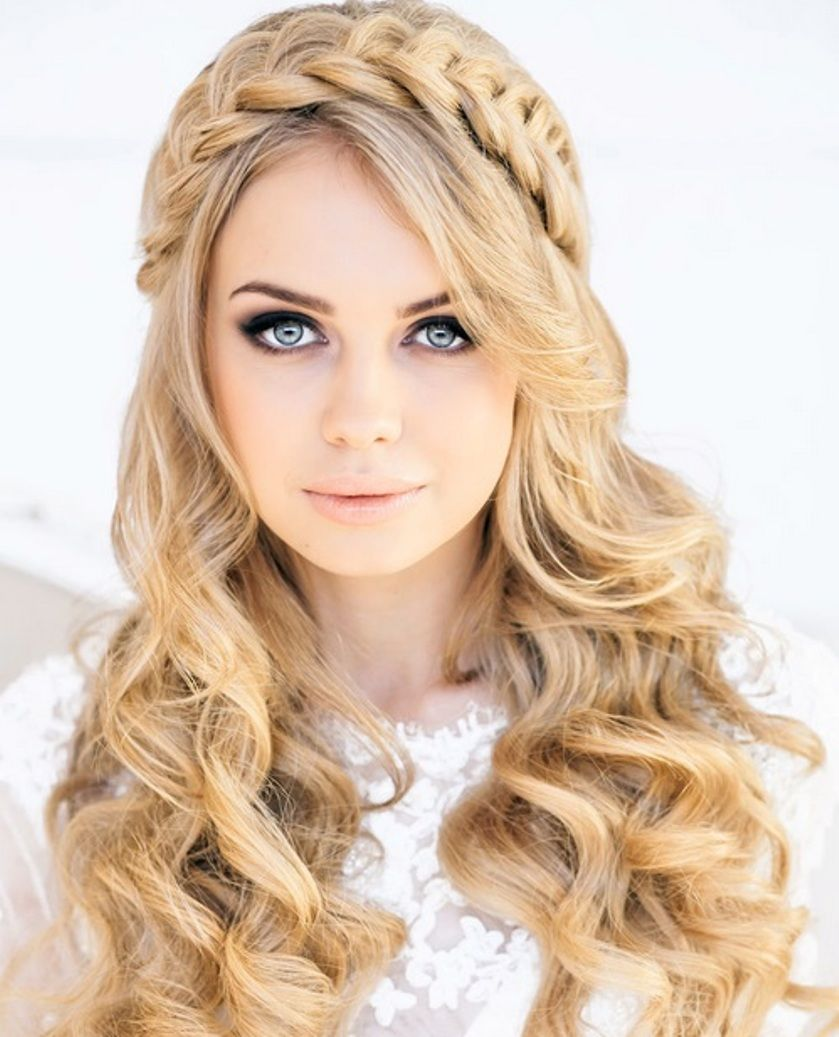 wedding hairstyles ideas front braid long hair all down