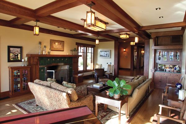 Pin By Jean Van Booven Shook On Ceiling Beams And Lighting Craftsman Living Rooms Mission Style Living Room Craftsman Interior