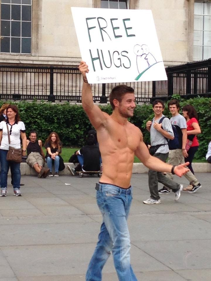 Image result for Hot guy Free hugs