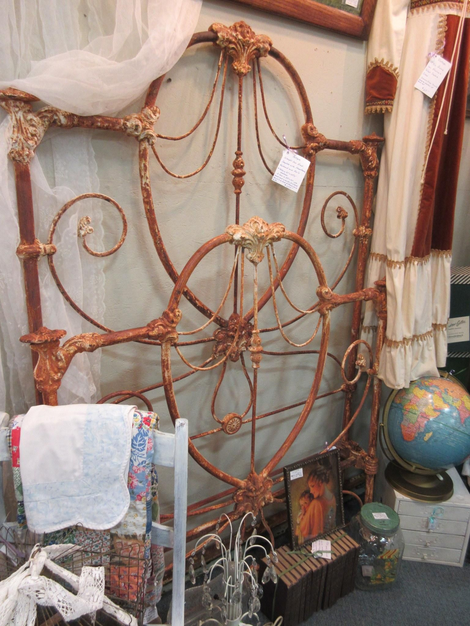 wrought iron headboard and footboard on antique wrought iron bed with headboard footboard and rails from vendor 528 in booth 100 priced at 650 00 cottage chic decor iron bed wrought iron beds pinterest