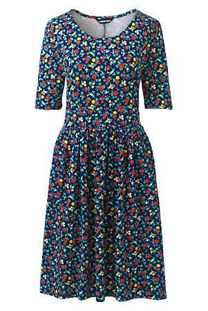 Women S Elbow Sleeve Fit And Flare Printed Dress Flare