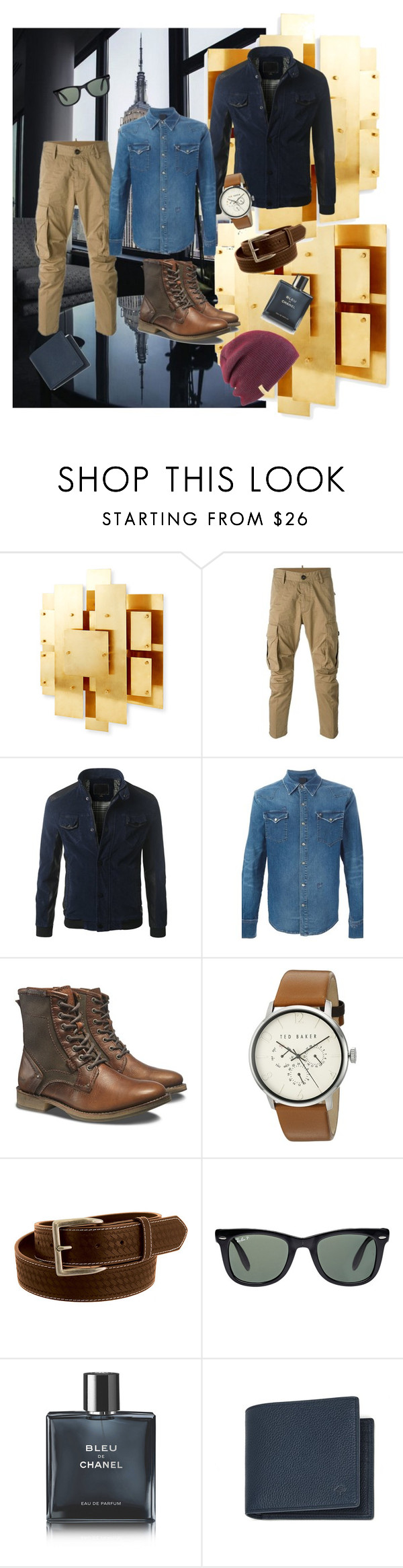 """""""men's street style"""" by samanthaodyssa ❤ liked on Polyvore featuring Jonathan Adler, Dsquared2, Caterpillar, Ted Baker, Wrangler, Ray-Ban, Chanel, Mulberry, Coal and men's fashion"""