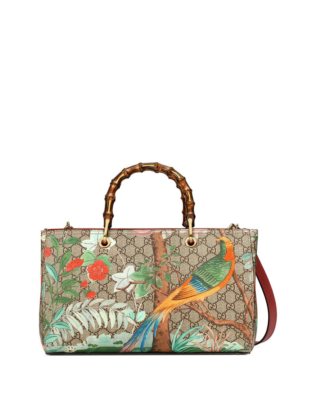 95f14b3c010 Gucci Tian Floral GG-Supreme Shopper Tote Bag