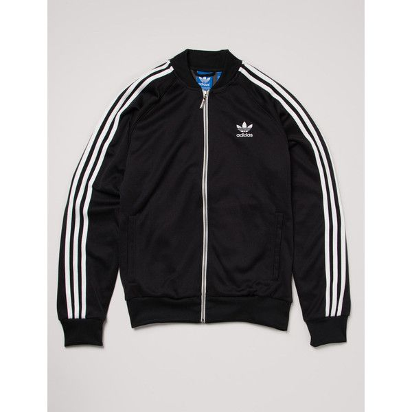 Adidas Originals SST Track Top Jacket Black ($72) ❤ liked