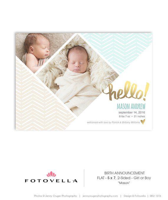 Birth Announcement Card Template – Boy or Girl Birth Announcement – 5×7 Flat Card – Mason – 1316