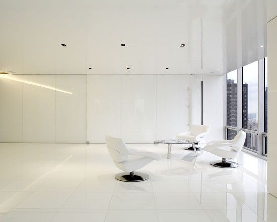 Appealing House Interior Design in White Color: Futuristic Living Room Minimalist Furniture Olympic Towers Residence