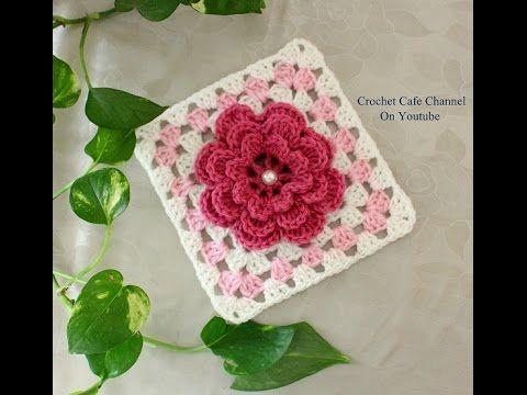 كروشيه مربع جرانى على شكل وردة طبقات | قناة كروشيه كافيه Crochet ...
