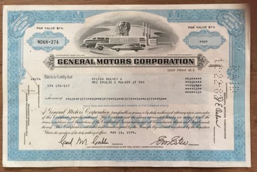 Vintage General Motors Corp Old Stock Certificate Collectible Dt ...
