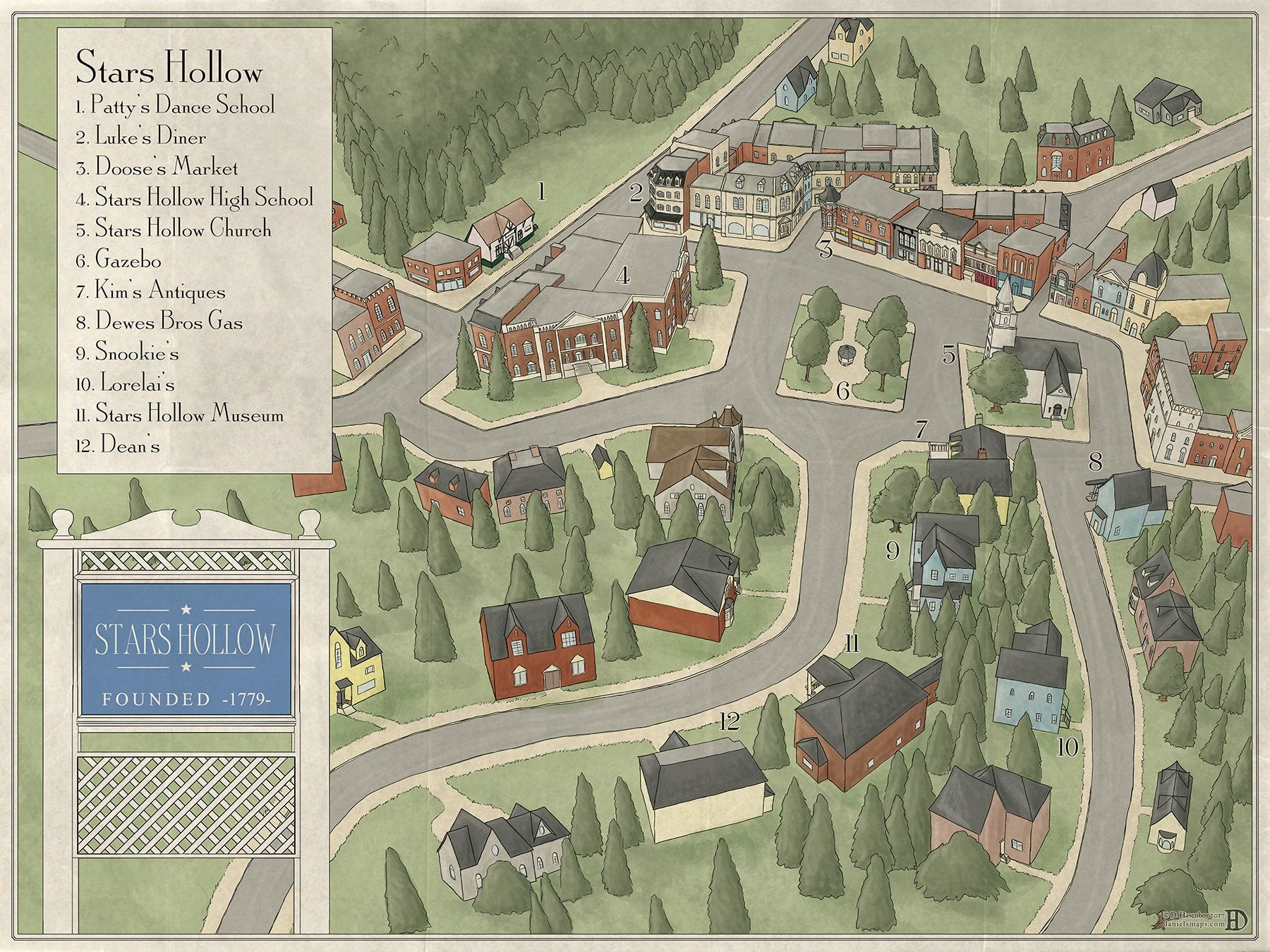 Recently I Was Commissioned By A Private Client To Make A Map Of Stars Hollow The Town Where The Show Gilmore Girl Gilmore Girls Stars Hollow Stars Hollow Map