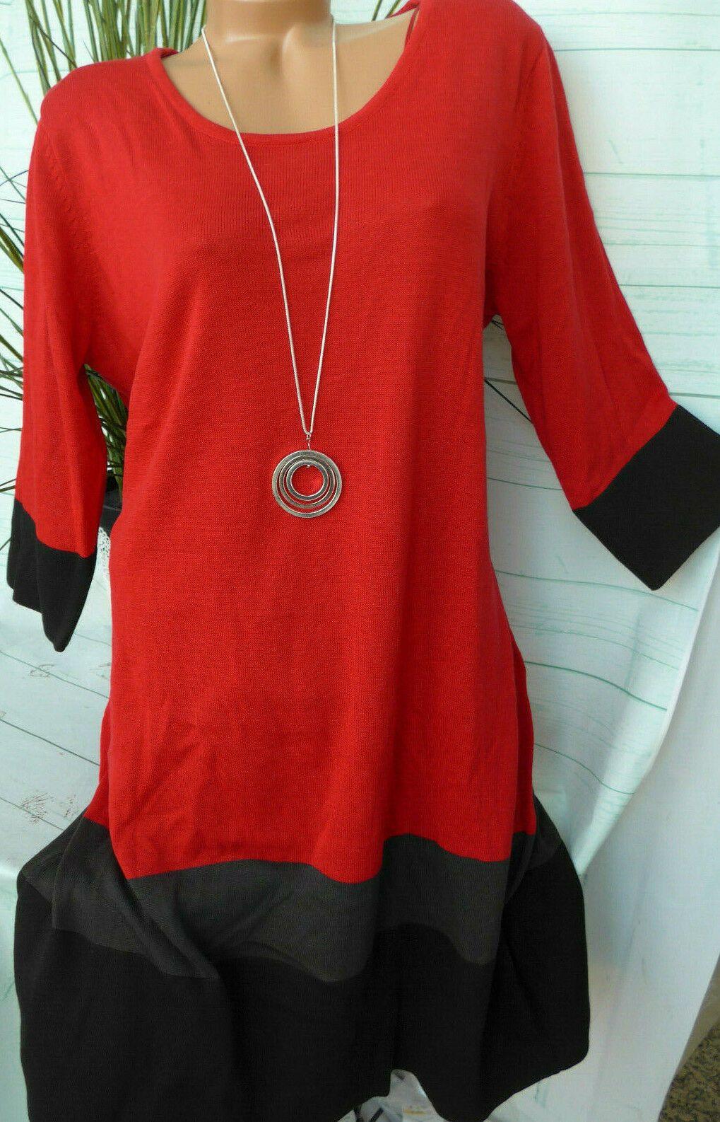 Sheego Damen Kleid Strickkleid Gr. 15 und 15 Rot Grau Schwarz (15
