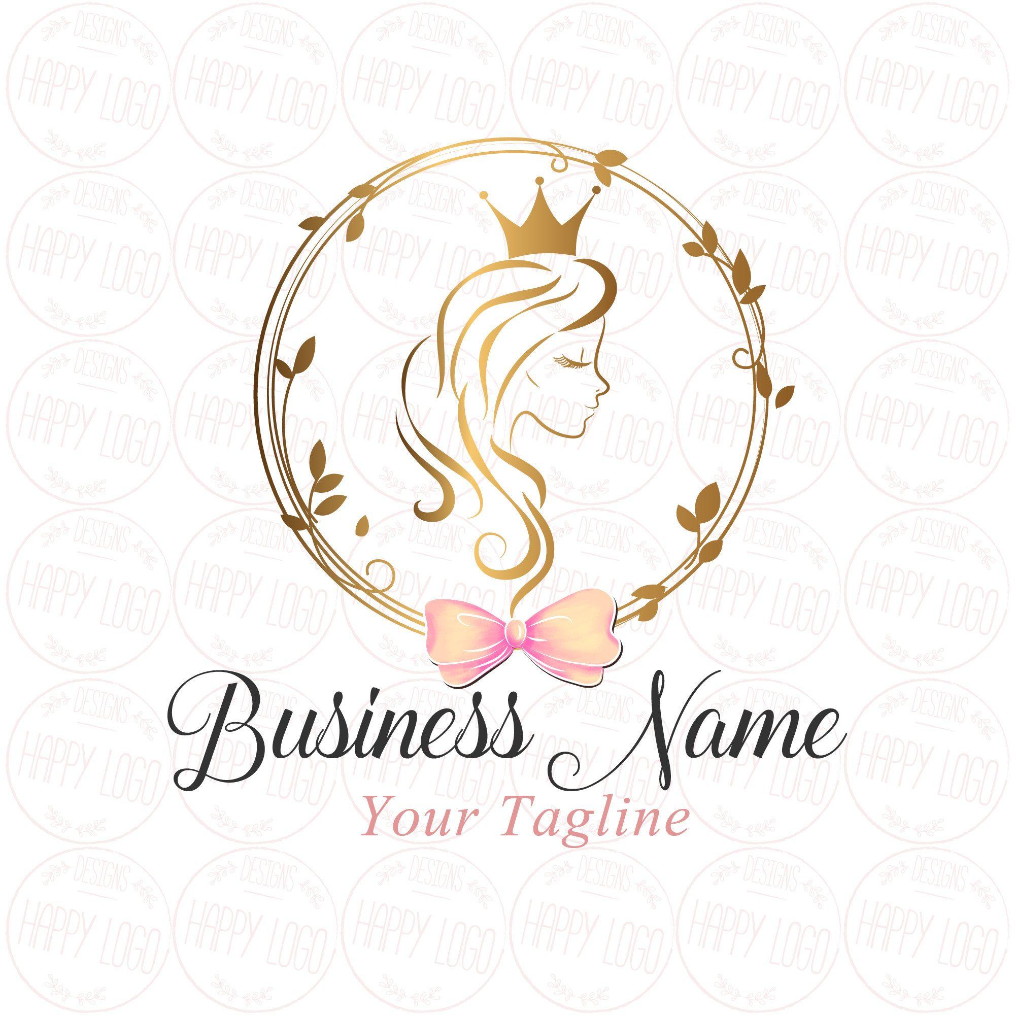 Digital Custom Logo Design Hair Crown Beauty Logo Gold Girl Long