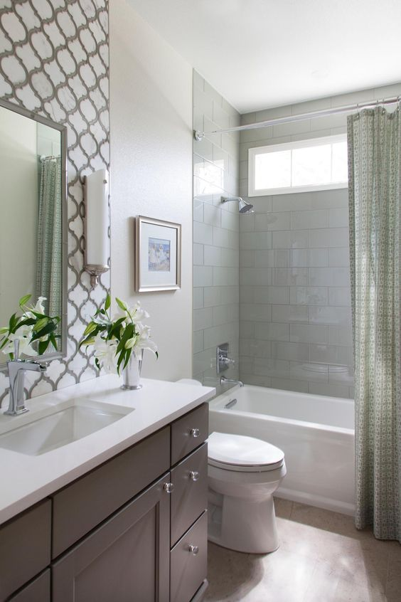 I Wouldn T Put These Tiles With The Cabinet Color Or Shower Curtain But I Like The P Small Bathroom Renovations Bathroom Design Small Bathroom Tub Shower Combo
