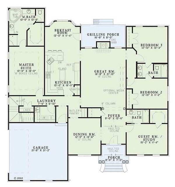 European Style House Plan - 4 Beds 3 Baths 2542 Sq/Ft Plan #17-526