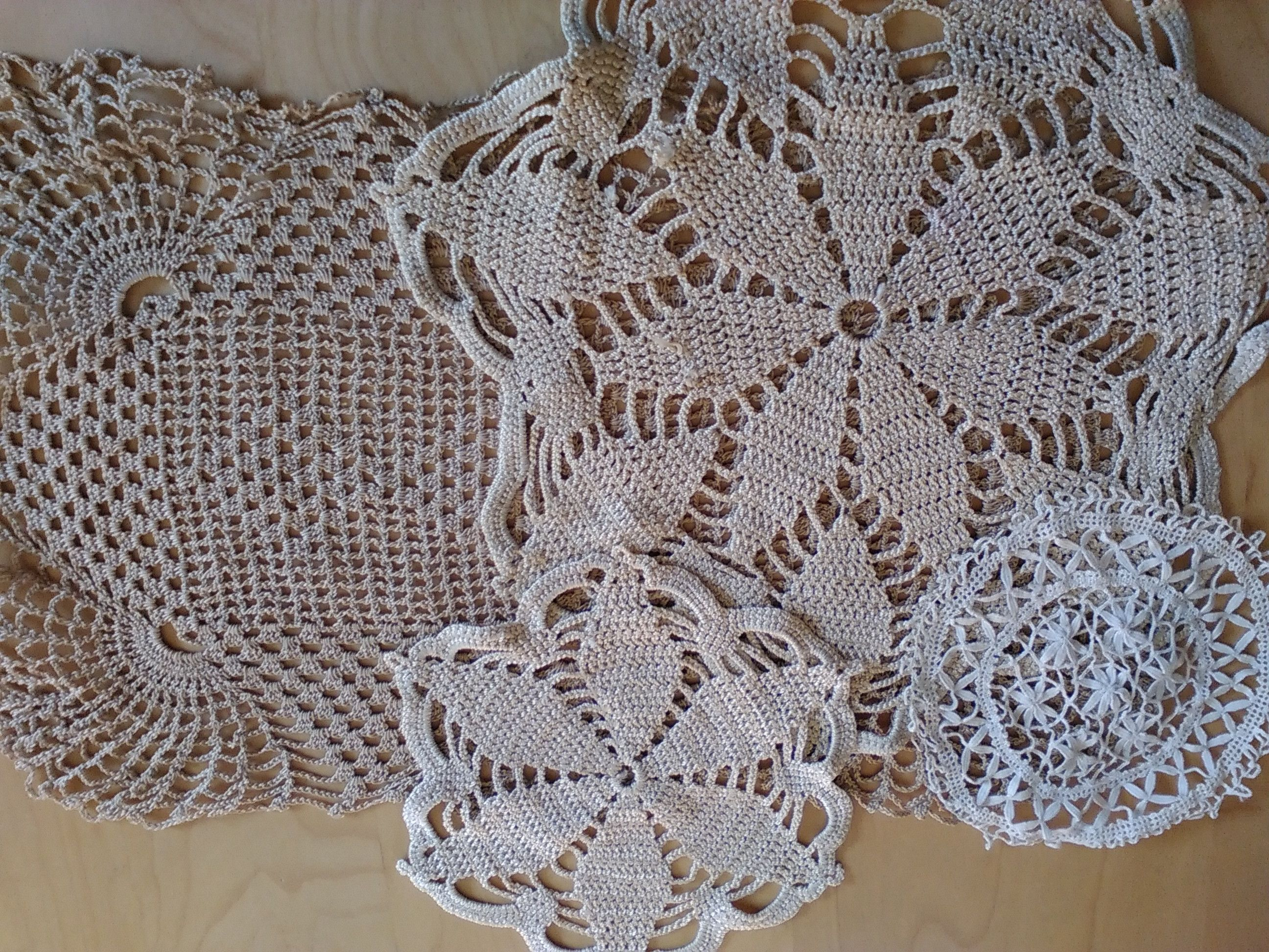 Crocheted doilies etc. bought at Car Boot Sale | lariane | Pinterest