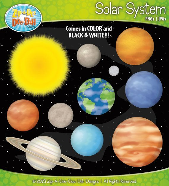Solar System And Planets Clipart Set Comes In Black And White Solar System Milky Way Galaxy Clip Art