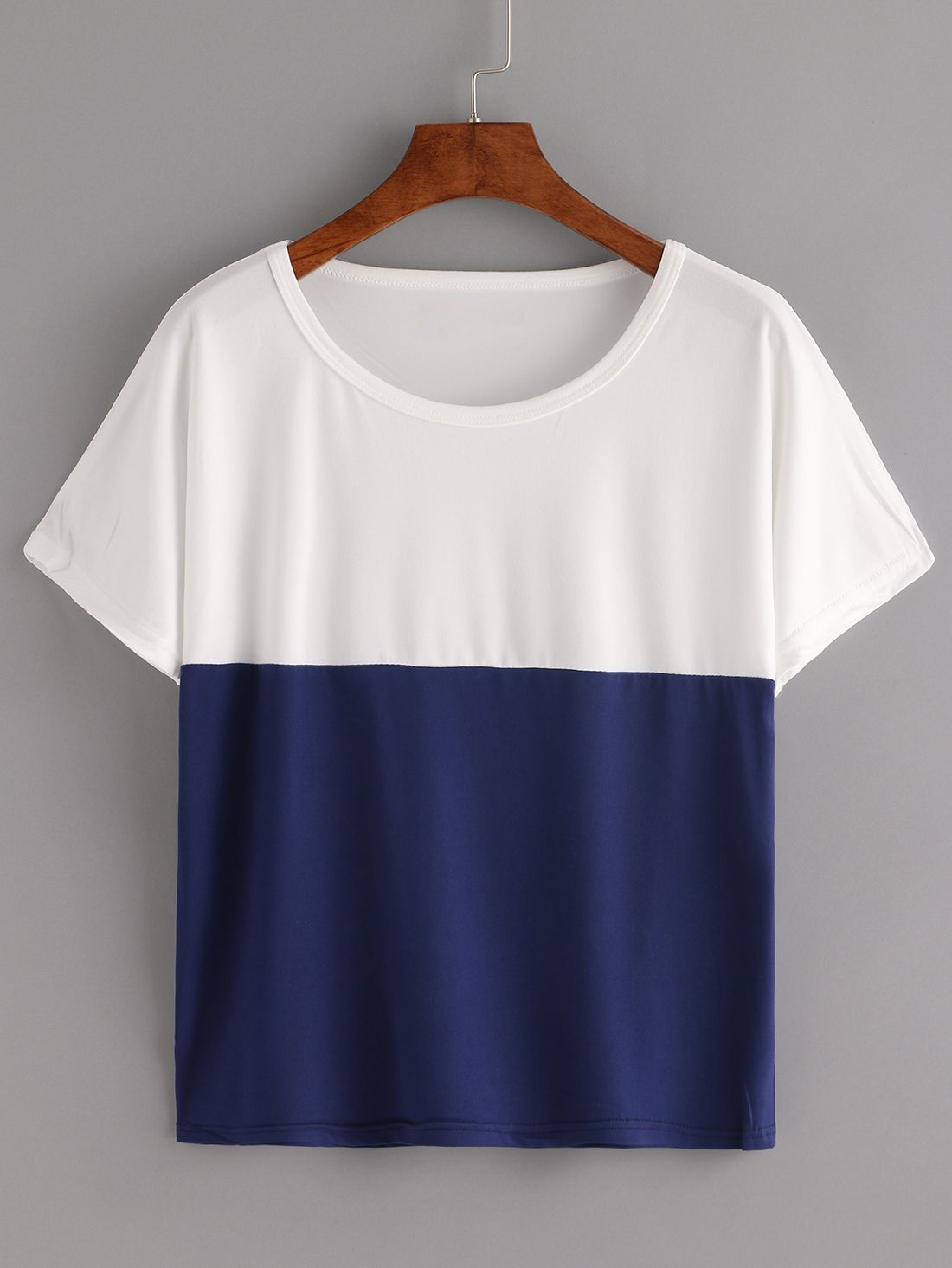 White And Blue Color Block loose T-shirt