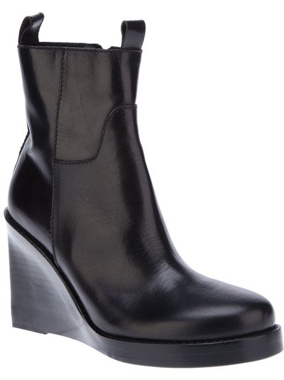 ANN DEMEULEMEESTER - wedge boot with detachable calf section 1